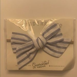 Wunderkin Co. Blue & White Striped Bow, Headband